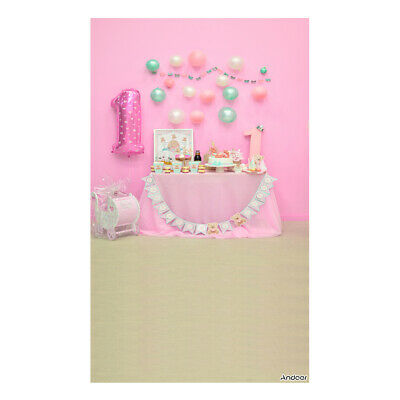 Andoer 1.5 * 0.9m/5 * 3ft First Birthday Party Photography Background Pink L9L6