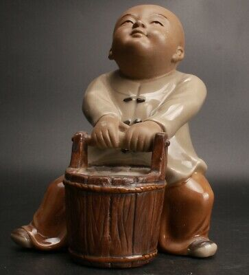 Precious Chinese Ceramics Handmade Carving Monk Statue Old Collection Decoration
