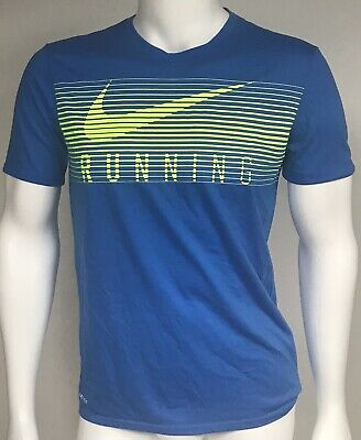 bc8e2f30dffb NIKE Athletic T-Shirt Size Mens Medium Dri-Fit Running Blue Bright Green  Active
