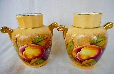 Pair Of Small Aynsley  Vases  With Autumn Fruits ~ Both Signed By Nancy Brunt !