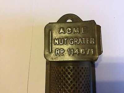 Antique ACME Tin Nutmeg Grater Rd 114671 With Storing Box And Sliding Lid