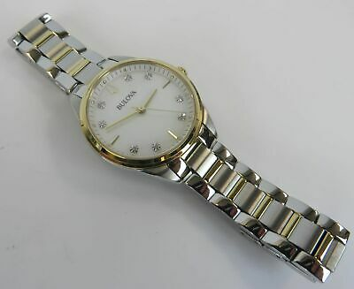 Bulova 98P184 Crystal Accent Mother of Pearl Dial W/ Stainless Steel Band Watch