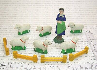 SET MASSE SCHÄFERIN & 6x SCHAF MASSESCHAFE * old FARMER SHEEP SET COMPOUND