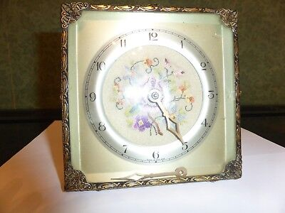 Vintage Square Clock Embroidered Flowers In The Middle Needs Repair