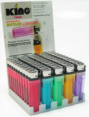 KING Classic - 3 Lighters - Disposable Butane Fire Adjustable Assorted Colors