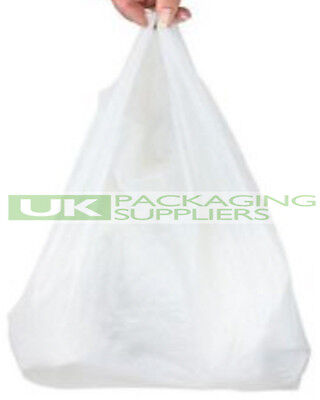 """1000 SMALL WHITE PLASTIC POLYTHENE VEST STYLE CARRIER BAGS 10 x 15 x 18"""" - NEW"""