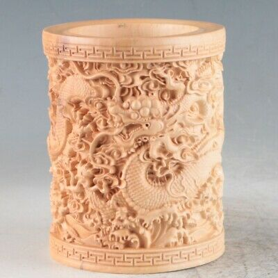 Chinese Boxwood Hand Carved  Long  Exquisite Brush Pot RB003+a