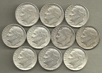 Roosevelt Dimes - US 90% Silver Coin Lot - 10 Circulated Coins #3963