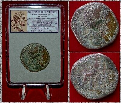 Ancient Roman Coin SEPTIMIUS SEVERUS Sestertius Roma Seated Holding Globe Spear