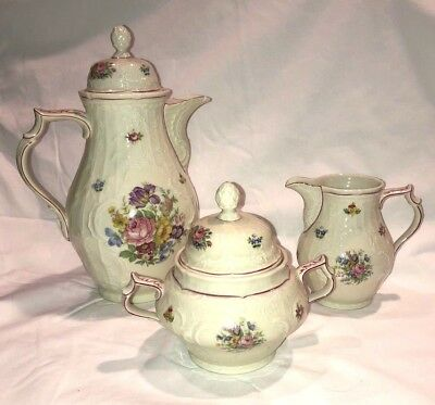 Vintage Rosenthal China Selb Germany Sanssouci Rose Coffee Set Pot Sugar Creamer