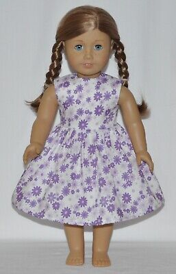 White Lavender Flower Doll Dress Clothes Fits American Girl Dolls