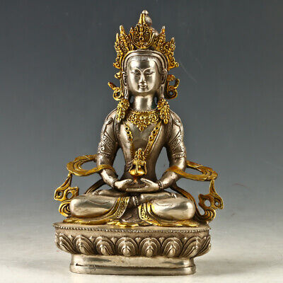 Chinese Antique Silver Copper Gilt  Carved Figure Of Buddha statue GL1086
