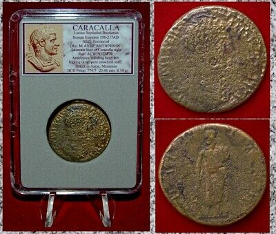Ancient Roman Empire Coin CARACALLA Aesklepios With Snake On Reverse