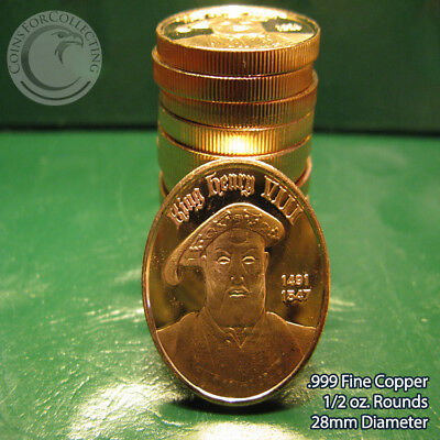 """14 """"King Henry VIII"""" 1/2 oz .999 Copper Round Very Rare and Limited thick round"""