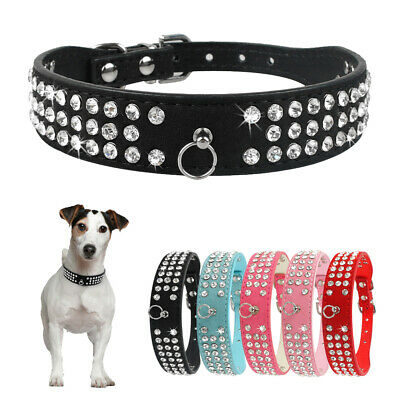 Rhinestone Suede Leather Pet Dog Collar Bling Crystal for Small Medium Large Dog