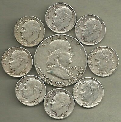 Franklin Half Dollar & Roosevelt Dimes- 90% Silver- US Coin Lot - 9 Coins  #3927