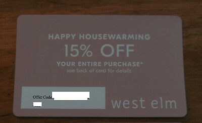 WEST ELM- 15 % off  - ENTIRE PURCHASE