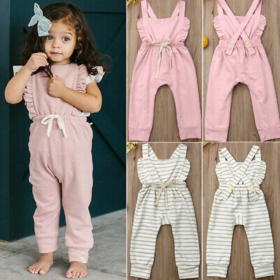 Lovely Newborn Baby Girl Cotton Ruffle Romper Jumpsuit Sunsuit Outfit Clothes