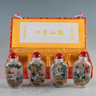 Exquisite Glass Hand-Painted Beautiful Cranes Snuff Bottles 4 Pcs TBY07+b