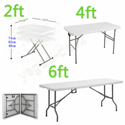 2 4 6ft Folding Table Heavy Duty Trestle Camping Party Picnic BBQ Stall Garden