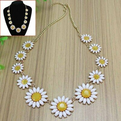 Vintage Daisy Flower Bib Chain Statement Women Girls Choker Necklace woderful