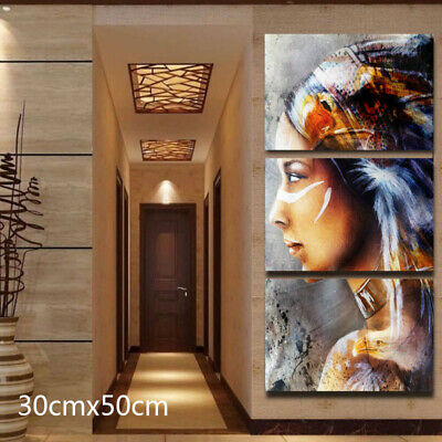 Multi Colors Indian Woman Abstract Wall Decorative Art Canvas Print Painting