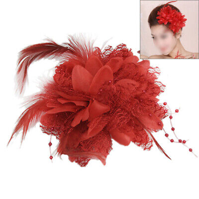 Hot Feather Flower Bead Wrist Corsage Brooch Pin Hair Clip Bridal Fascinator Red