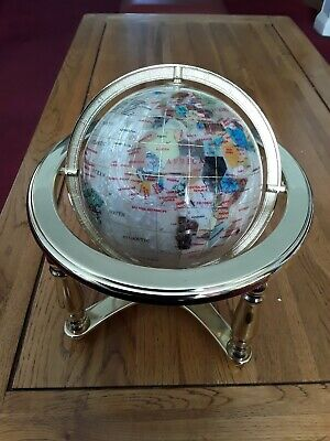 Semi Precious Stoned Globe of the World Mounted on a Brass Stand with Compass