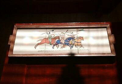William the conqueror 1066 Bayeux tapestry  hand painted on ceramic tile framed.