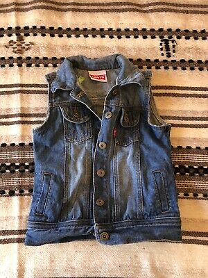 LEVIS distressed denim cut off unisex boys girls kids size 5 vest