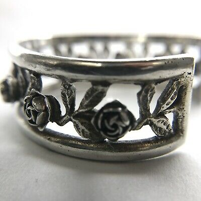 Peruzzi 800 Silver Florence Italy Floral Cuff Bracelet 1930's-1940's