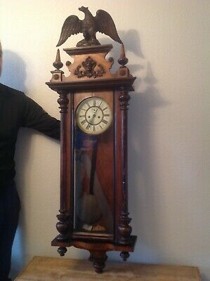Old & Very Large Impressive Double Weighted Gustav Becker Vienna Wall Clock