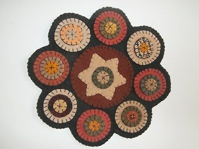 """PRIMITIVE wool - SCALLOPED 10""""  PENNY RUG~WARM AUTUMN BLISS~"""
