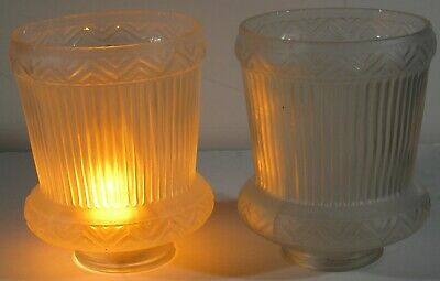 Vintage Pair Fancy Frosted Embossed Designed Glass Shades Table Wall Floor Lamp