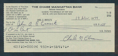 "USA: South Vietnam 1970s Chase Manhattan Bk ""RARE CHEQUE PAYABLE ONLY IN MPCs"""