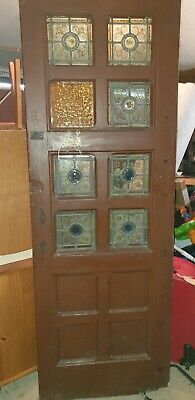 ANTIQUE PAIR OF ORIGINAL CHURCH STAINED GLASS HEAVY DOORS  circa 1870's