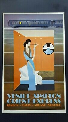 Orig. travel poster, railway, Fix Masseau for Venice Simplon Orient-Express, `81