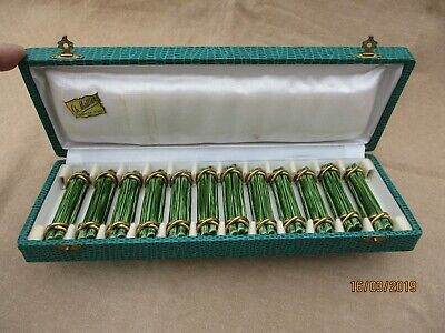 Antique French Majolica Vintage Set Of 12 Green & Gold Ceramic Knife Rests Boxed
