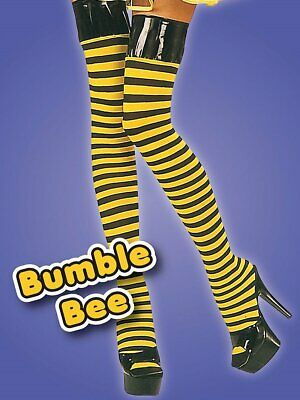 f6789f3a384 Yellow Black Thigh High Hold ups Stockings lingerie fancy dress Bumble Bee