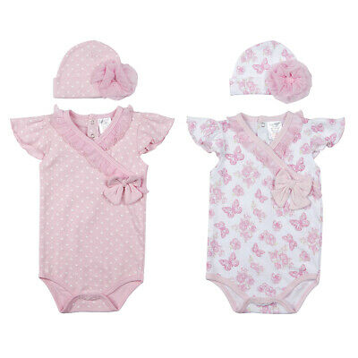 Infant Baby Girls Floral Sleepsuit Bodysuit Outfit 2 Piece With Hat Sizes 9-12m