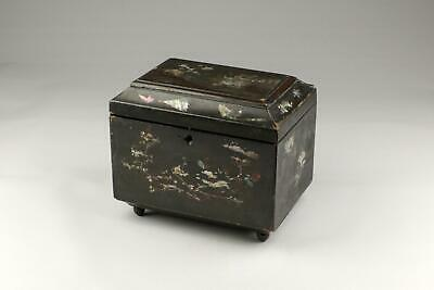 19thC Japanese Edo / Meiji Wooden Export Inlaid Lacquer Ware Double Tea Caddy