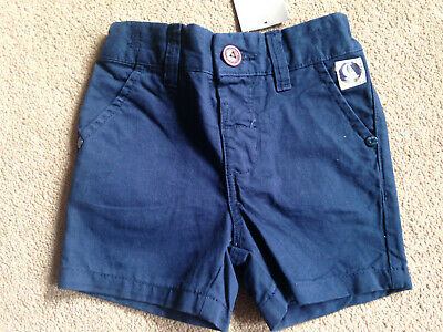 BNWT NEXT Baby Boys Navy Blue Chino Shorts Adjustable Waist 6-9 Months