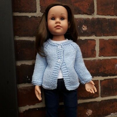 "Hand knitted cardigan fits Gotz Hannah 18"" doll"