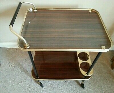 Stunning Vintage Retro Hostess Cocktail Tea Trolley 2 Tier Large Wood Effect