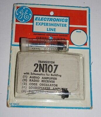 Lot of Two General Electric 2N107 Germanium Transistors, Two Versions - NOS