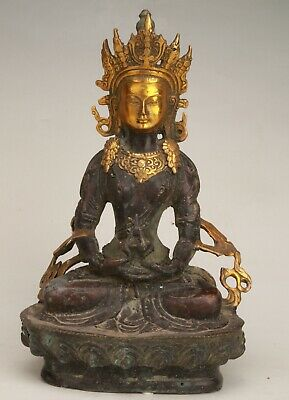 Rare Chinese Copper Gilt Unique Handmade Carving Buddha Statue Old Collection