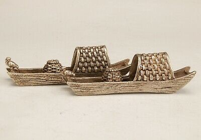 2  Exquisite Chinese Copper Handmade Carving Ship Statue Collection Decoration