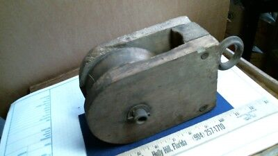 Wood wheel PULLEY antique vintage old farm mercantile maritime tool hardware