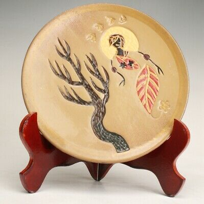 Chinese Ceramic Handmade Painting Scene Dish Collection Decoration