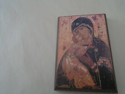 small wooden Byzantine style religious icon with interesting provenance  LOOK